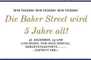 PopRat-Event-Tipps: Die Baker Street feiert am 16.12.17 Geburtstag