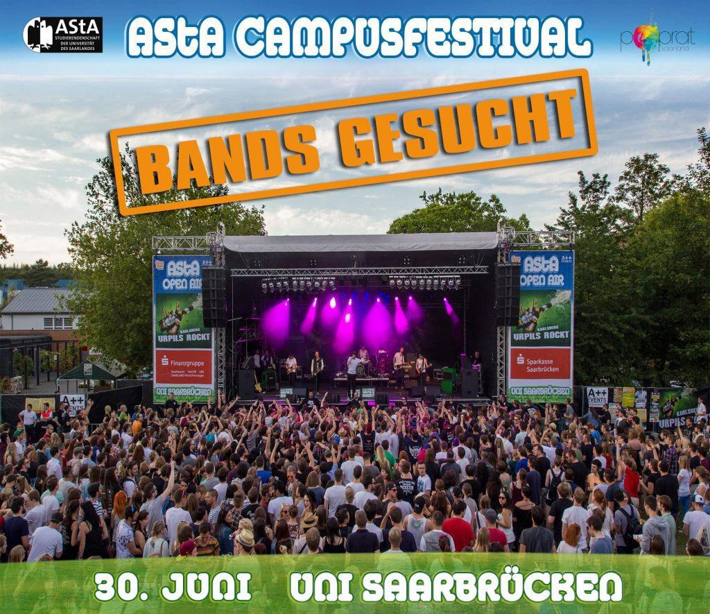 """AStA vergibt in Kooperation mit dem PopRat noch ein paar Slots auf der """"Rock""""-Bühne des AStA CAMPUSFESTIVALS"""