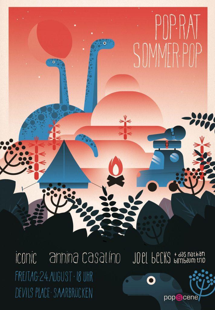 PopRat SommerPop 2018: Präsentiert vom Popscene Magazin, Plakat von Markus Jungen entworfen