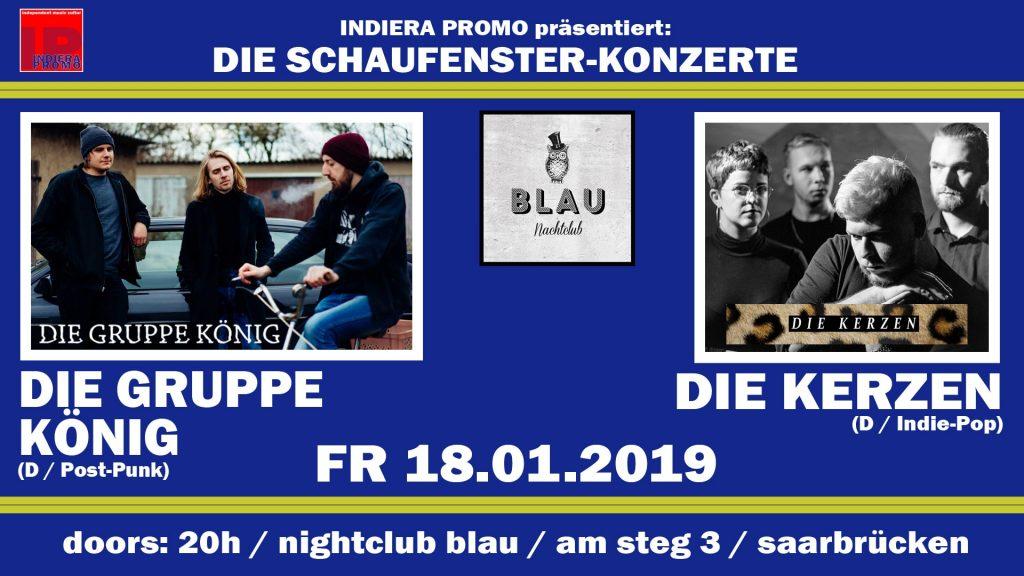 Zweites Schaufensterkonzert mit Die Gruppe König und Die Kerzen am 18.01.2019
