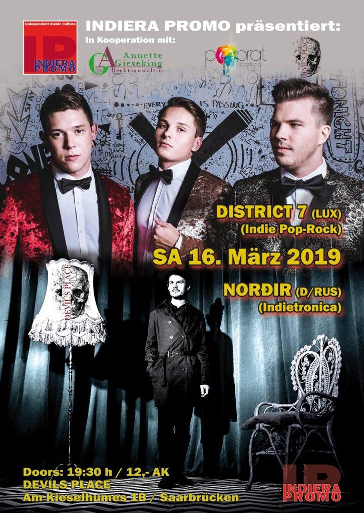 Indiera Promo präsentiert: District 7 und Nordir am 16.03.2019 im Devils Place Saarbrücken